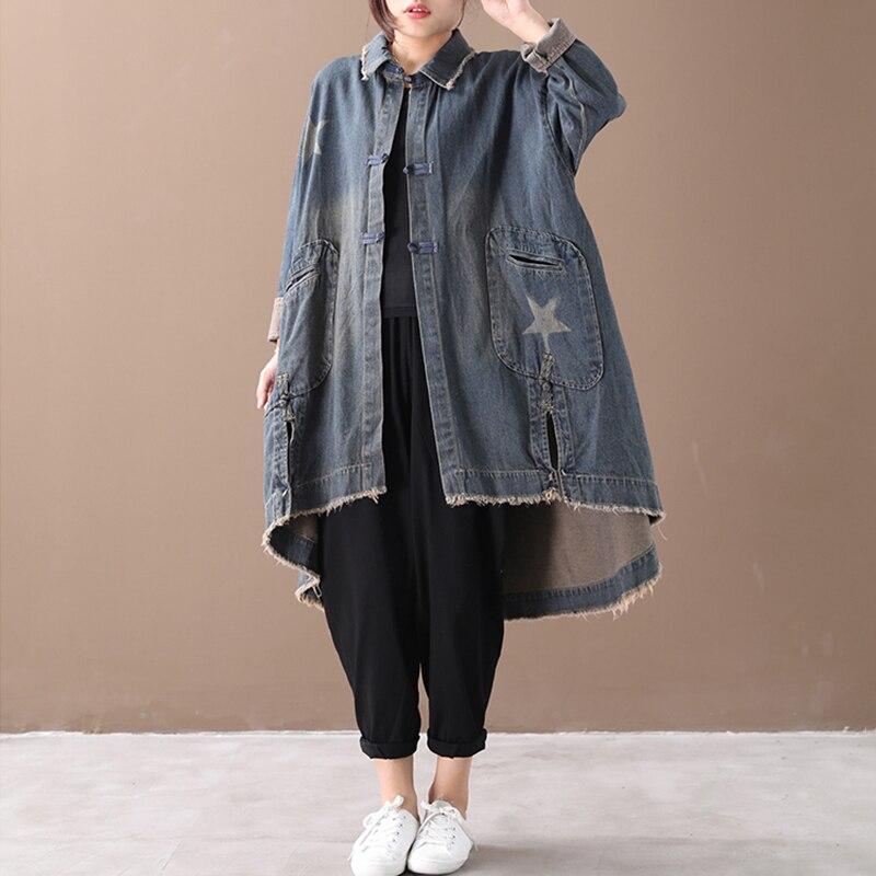 Image 4 - CHICEVER Vintage Korean Denim Women Dresses Lapel Collar Long  Sleeve Asymmetrical Loose Dress Female 2020 Autumn Fashion NewDresses