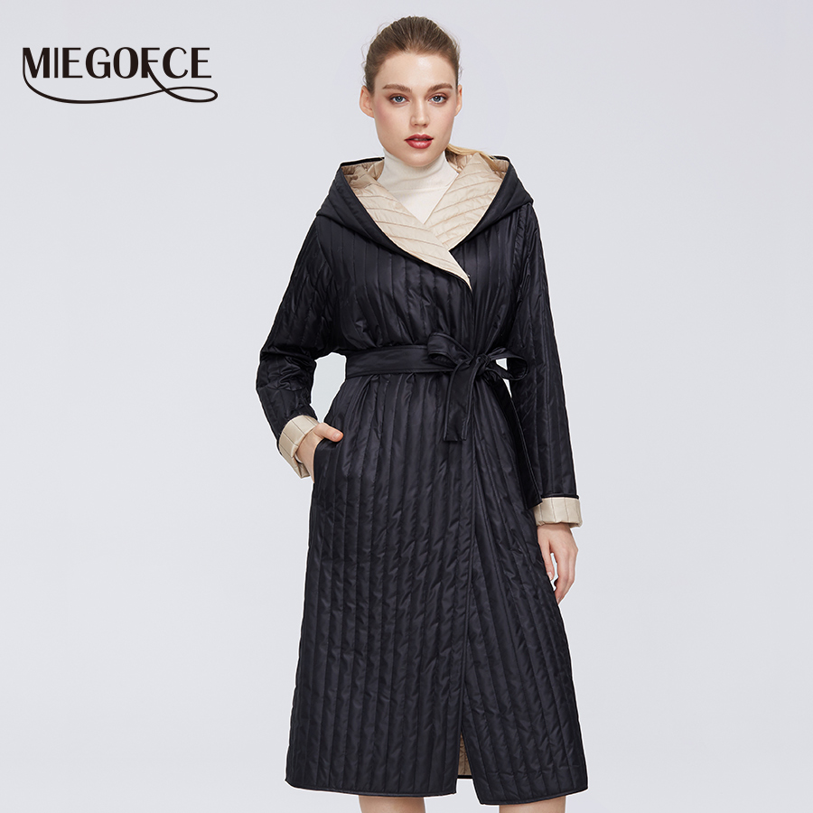 MIEGOFCE 2020 New Design Collection Spring Women Jackets With Strap Gives Coat With Hood Medium Knee Length With Pockets Parka