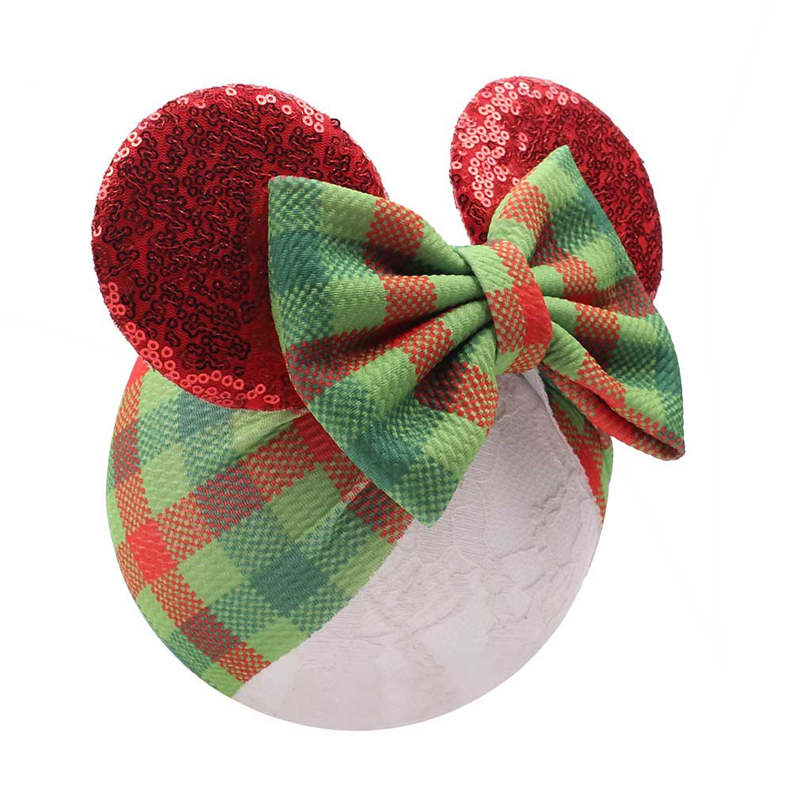 Christmas Baby Bows Sequines Bunny Ears Girls Headbands Newborn Babes Turban Headwrap