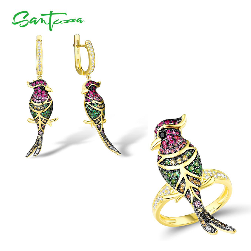 SANTUZZA Genuine 925 Silver Jewelry Set For Women Sparkling Colorful Stones Delicate Birds Earrings Ring Set Party Fine Jewelry