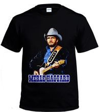 Merle Haggar country music singer Legend Black Men T-shirt size S-2XL(China)