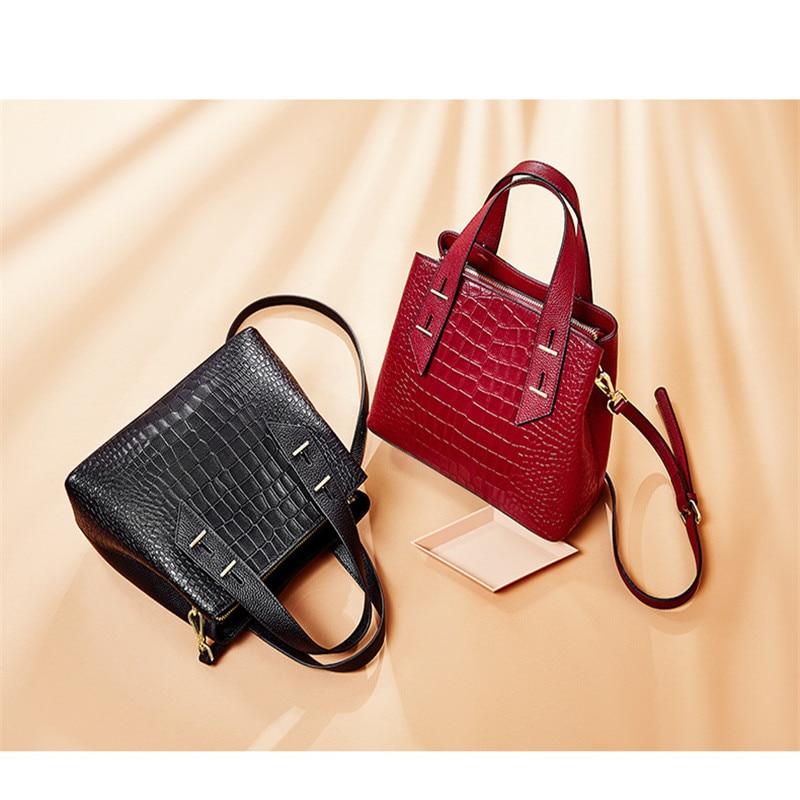 Leather women's bag crocodile  pattern European and American  first layer cowhide embossed Single Shoulder Messenger Handbag