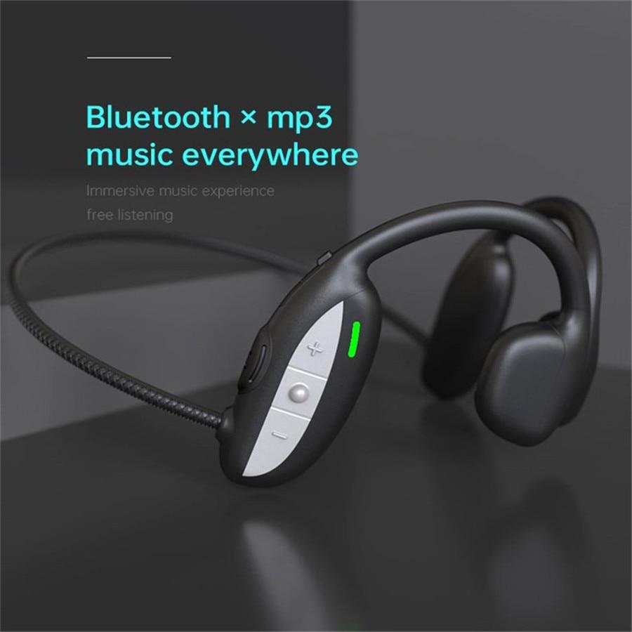 Bone Conduction Headphones Bass IPX4 Waterproof Support TF Memory Card Wireless Earphone Running Headset Hands Free with Mic