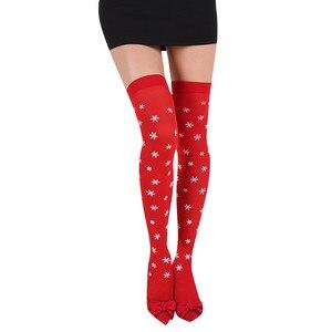 Christmas Stockings Women Girls Sexy Chriatmas Party Printed Knee Stockings Thigh High Overknee Stockings Medias De Mujer