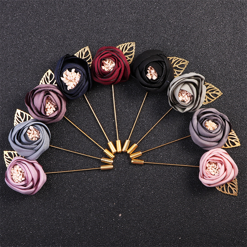 Men Women Ribbon Floral Lapel Pin Brooch Jewelry Wedding Party Shirt Jacket Coat Needles Alloy Rose Flower Leaf Brooches Corsage