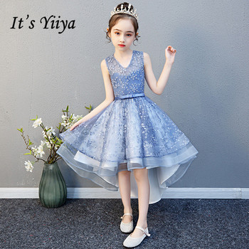 Bule Flower Girl Dresses for Weddings It's Yiiya B048 Elegant High Low Length Kids First Communion Dress Girs Pageant Gowns 2015 elegant a line and knee length flower girl dresses for weddings layered and unique handmade flower design