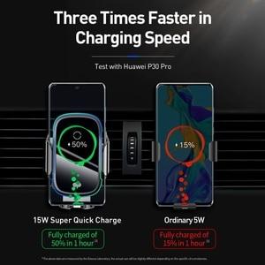 Image 3 - Baseus Draadloze Autolader Voor Iphone Xs Max Xr X 8Plus Licht Elektrische 2 In 1 Draadloze Oplader 15W Auto Houder Voor Huawei P30Pro