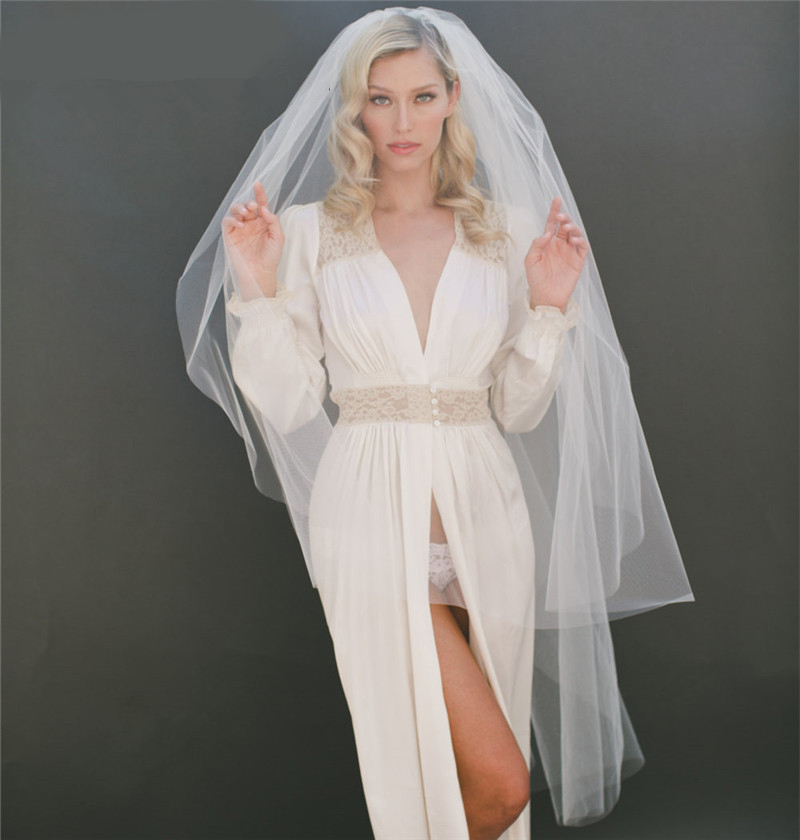 Elegant Simple White Ivory Wedding Veil With Comb Soft Tulle Two Layer Long Bridal Veils Mantilla Wedding Accessories 2019