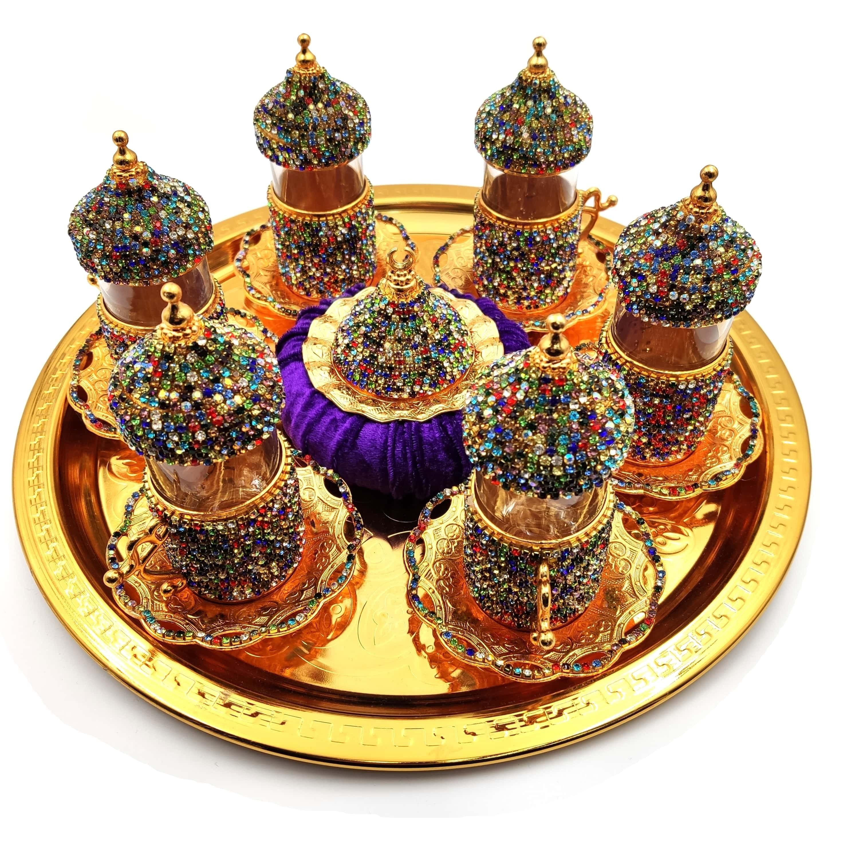 Juego de 6 tazas de café turco Swarovski Set de café árabe hecho a mano juego de tazas de té en juego de café de cobre Espresso Novedad de 304, escurridor de platos de cocina de acero inoxidable, escurridor de platos y cubiertos, escurreplatos, soporte de almacenamiento organizador de cocina de montaje en pared