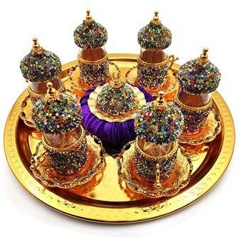 цена на Set of 6 Swarovski Turkish Coffee Cups Set Arabic Coffee Set Handmade Tea Cups Set Set in Espresso Copper Coffee set