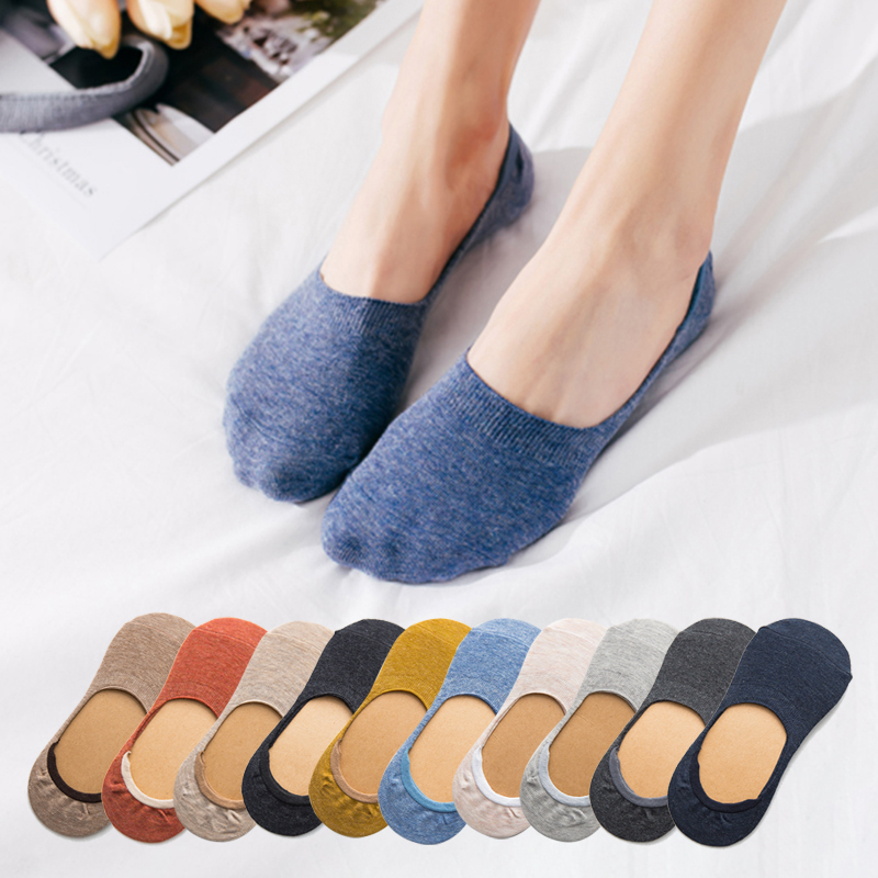 10 pieces = 5 pairs Spring summer women   socks   Solid color fashion wild shallow mouth felmen slipper   socks   invisible   socks