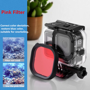 Image 5 - Original Waterproof Case Filter Protective Shell Purple Pink Red Filters For Gopro Hero 8 Black Action Camera Accessories