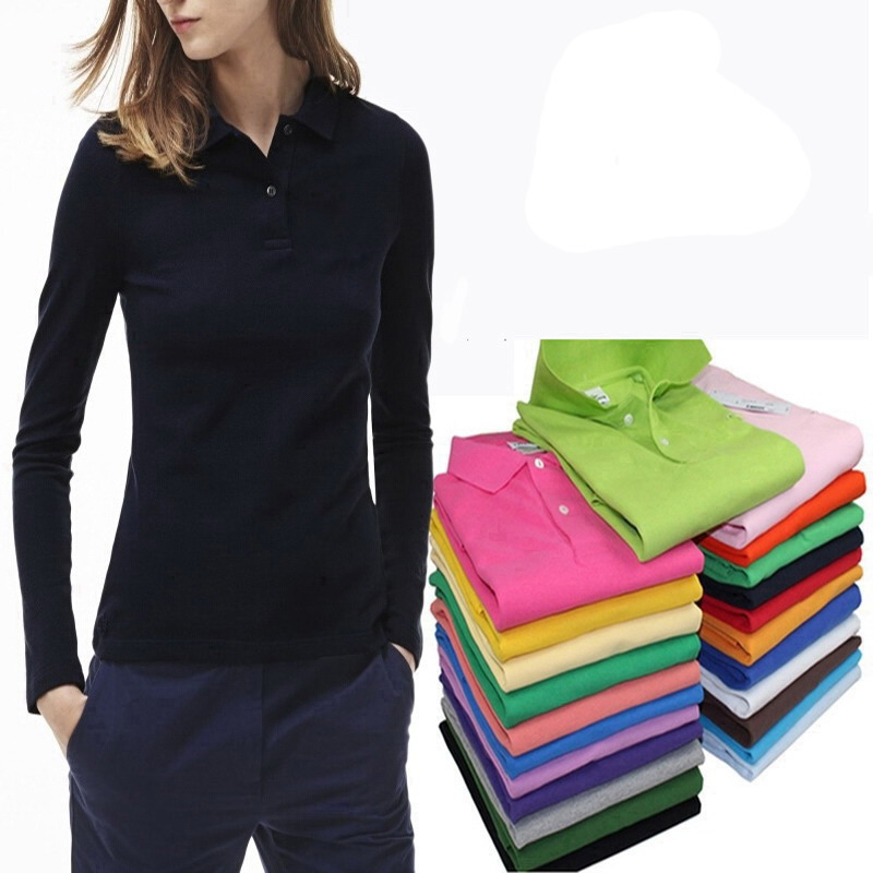 100% cotton high quality woman men   Polo   Shirt Pure color Brand Clothing lapel tees Business Casual Long sleeve Breathable Tops