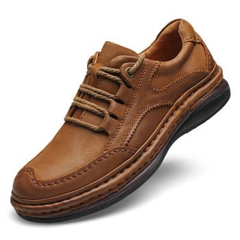 Męskie buty ze skóry naturalnej formalne buty biznesowe 100 skóra bydlęca oddychające trampki górskie buty górskie 2019 nowe skórzane trampki tanie i dobre opinie MINUSIKE Prawdziwej skóry RUBBER 9 231514 Lace-up Pasuje prawda na wymiar weź swój normalny rozmiar Podstawowe Stałe