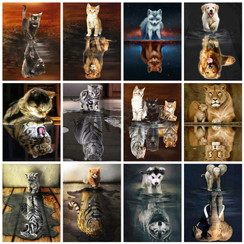 Evershine 5D Diamond Painting Cat Full Square Embroidery Animals Reflection Pictures Of Rhinestones Mosaic Home Decor