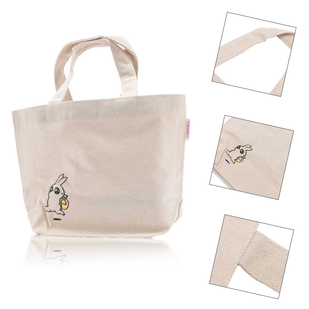 High Quality Ladies Women Handbags Cotton Grocery Reusable Cartoon Rabbit Canvas Bag Shopping Eco Foldable Tote Bag