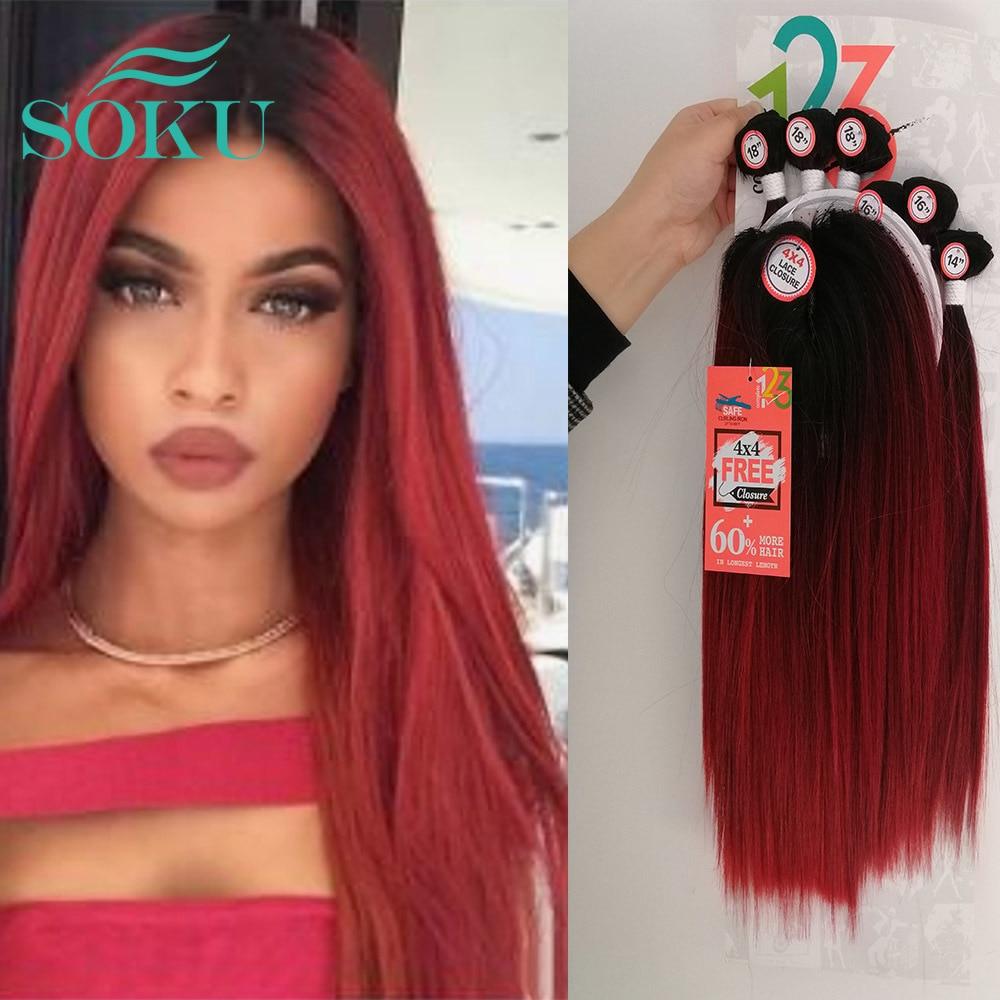 Extensiones de cabello ondulado sintético, extensiones de pelo ondulado, sin SOKU, 4x4, extensiones de cabello natural de tejido profundo, 6 unidades