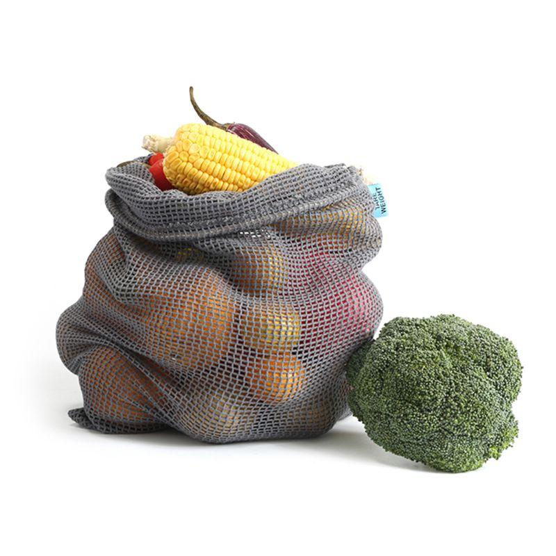 Cotton Mesh Storage Bag Washable Drawstring Shopping Bag For Vegetables Fruits 517D