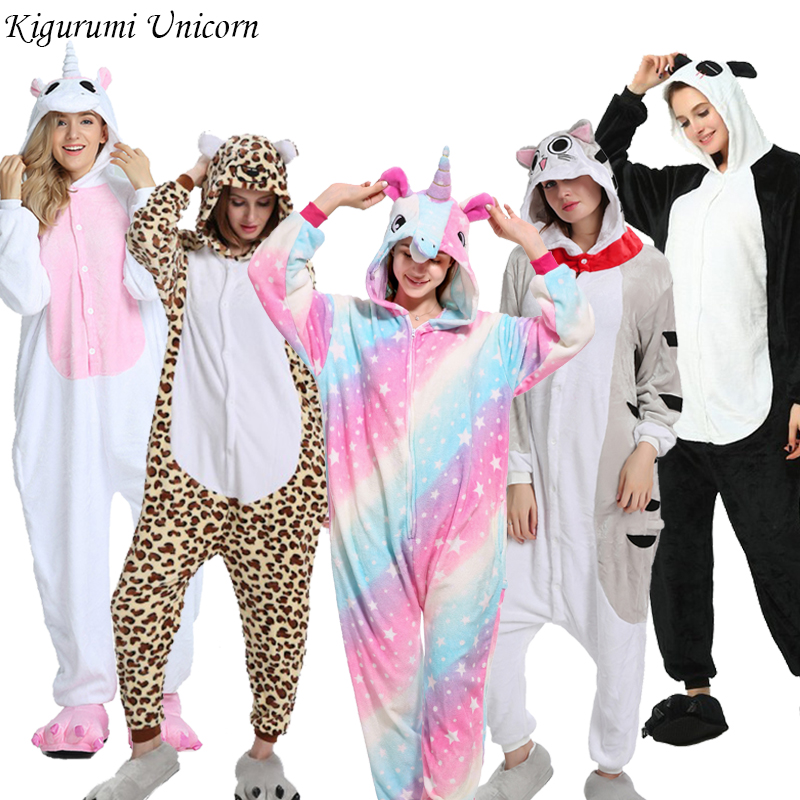 Kigurumi Unicorn Pajama Adult Animal Onesies For Women Men Couple 2019 Winter Pajamas Stitch Sleepwear Flannel Pijamas Pyjama