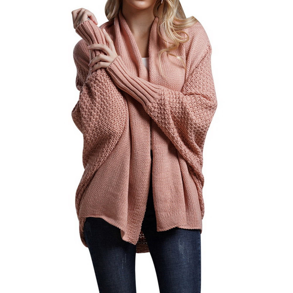 Women 39 s Cardigan Sweater Coats Loose Long Bat Sleeve Knitted Cardigan Sweater Tops Large Size Autumn Knitted Jumpers Outwears in Cardigans from Women 39 s Clothing