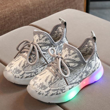 Sneakers Led Lighted-Shoes Baby-Boy Off White Girls Breathable