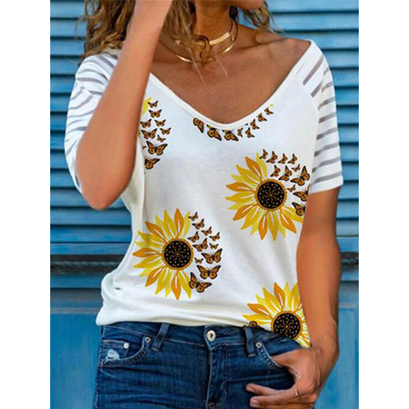 Summer Tops Women T-Shirts Ladies Solid Color Sexy V Neck Loose Casual t Shirt Female Floral Printed Plus Size Mujer Tops 2021
