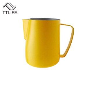 Image 3 - Jarra de leche TTLIFE de 0,3 a 0,6 l, jarro de espuma de acero inoxidable, jarro de espuma con forma de flor, Espumador de café y leche, herramienta artística para leche, cafetera de gomaespuma