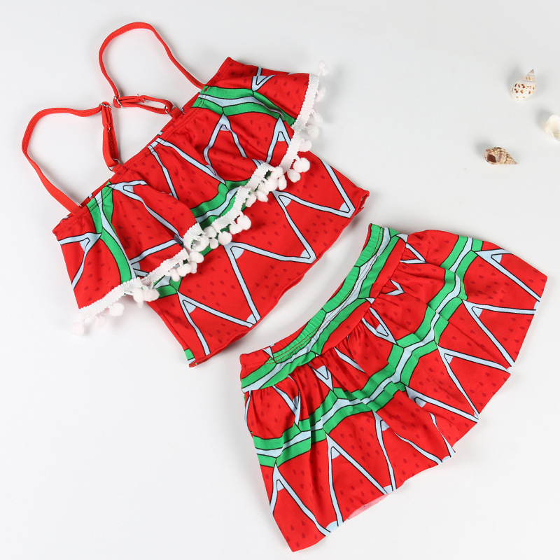 Girls' Two-piece Dress Swimsuit Cute Printed Little Girl's Comfortable Boxer Big Boy Bubble Hot Spring Swimwear