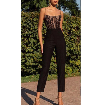 Women Casual Lace Sleeveless Camis Wide Leg Pants Jumpsuit Ladies Sexy Solid Lace Evening Party Long Playsuit 2020 New