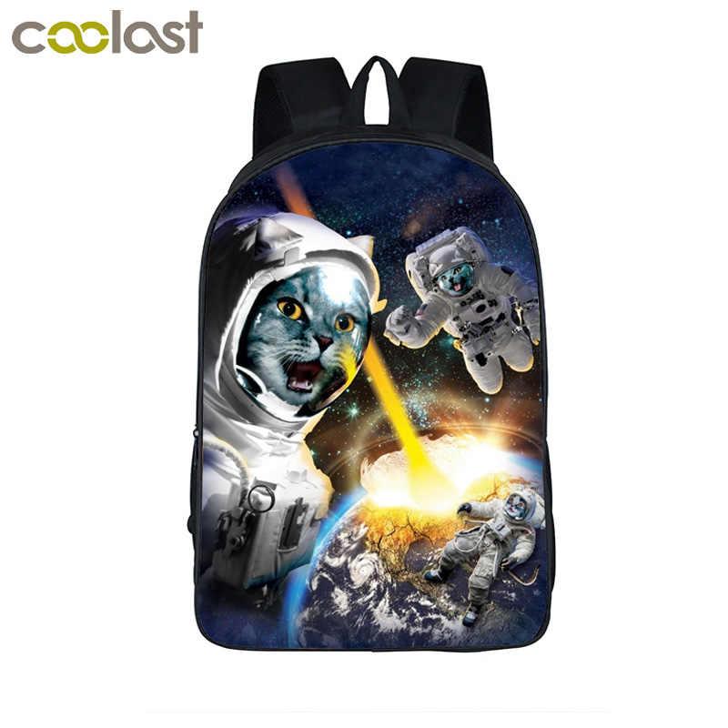 Grappige Kat Kitten Astronaut Rugzak Voor Tieners Meisjes Jongens Schooltassen Galaxy Kids Starry Night Rugzakken Kinderen Alien Tas