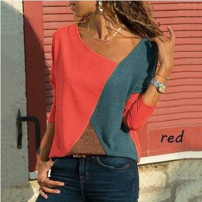 Women Spliced Colour T-shirt For Ladies With Long Sleeves