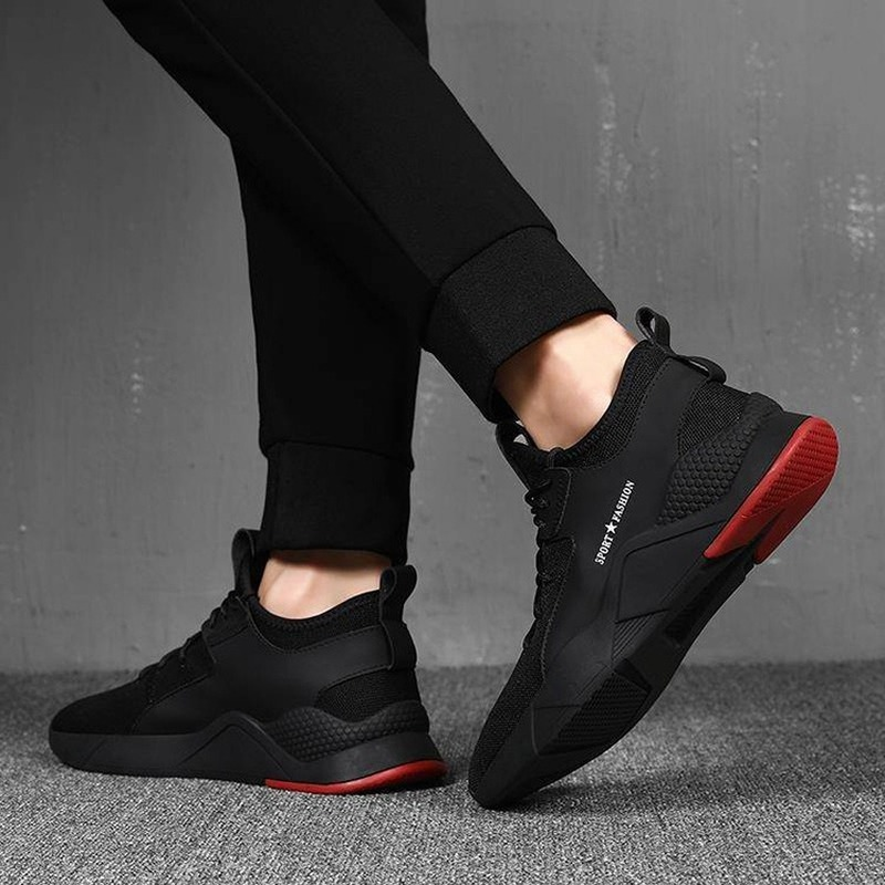 2020 Hot Summer Men Sneakers Vulcanize Breathable Black Color Fashion Casuals Height Increasing Male Shoe