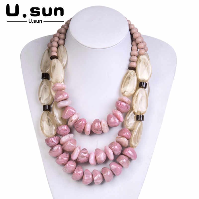 , Duży, Vintage, długie koraliki naszyjniki żywica akrylowe oświadczenie wielowarstwowy łańcuch naszyjnik dla kobiet moda biżuteria naszyjniki wisiorki