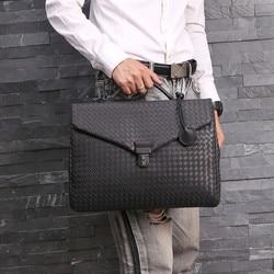 Kaisiludi кожаная тканая мужская сумка, деловая мужская сумка, портфель из вощеной воловьей кожи, сумка почтальона, Компьютерная сумка на плечо, ...