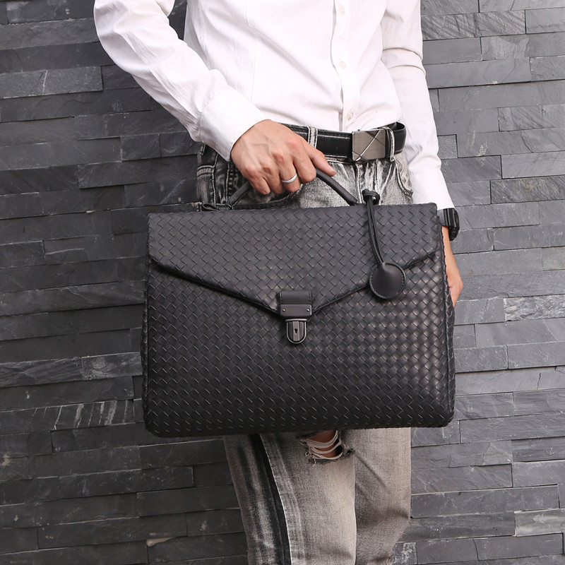 Kaisiludi Leather Woven Men's Bag Handbag Business Men's Briefcase Waxed Cowhide Postman Bag Computer Shoulder Slant Span Bag