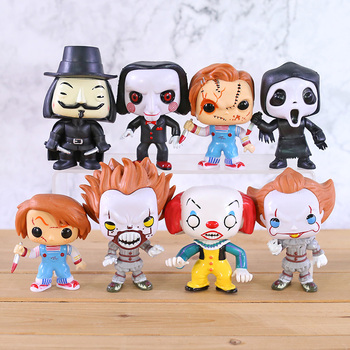 Pennywise Billy Death V for Vendetta Chucky Q Version Horror Doll PVC Figures Big Head Toys Gift 8pcs/set