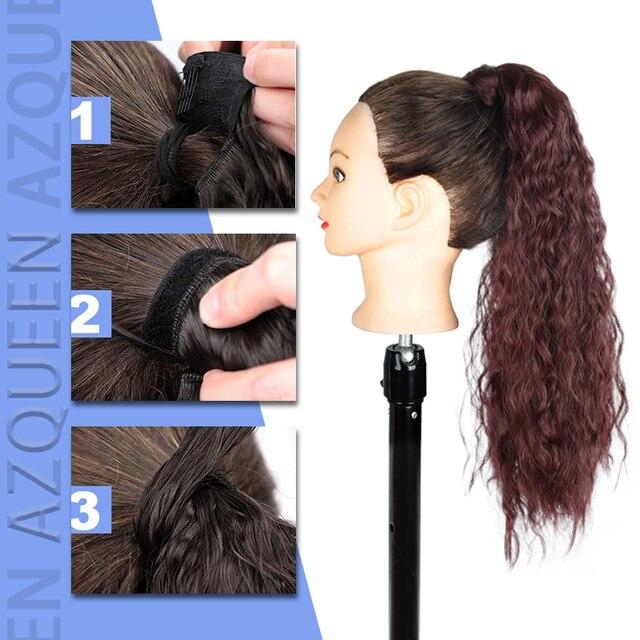 AZQUEEN-extensiones de cabello sintético con Clip para mujer, cola de caballo ondulado con cabello largo, color marrón degradado