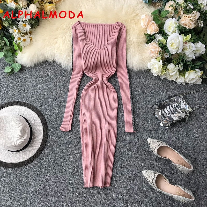 ALPHALMODA Low V-neck Long-sleeved With Striped Ladies Autumn Sexy Sheath Knitting Dress Solid Color Stretchy Elastic Women Dres