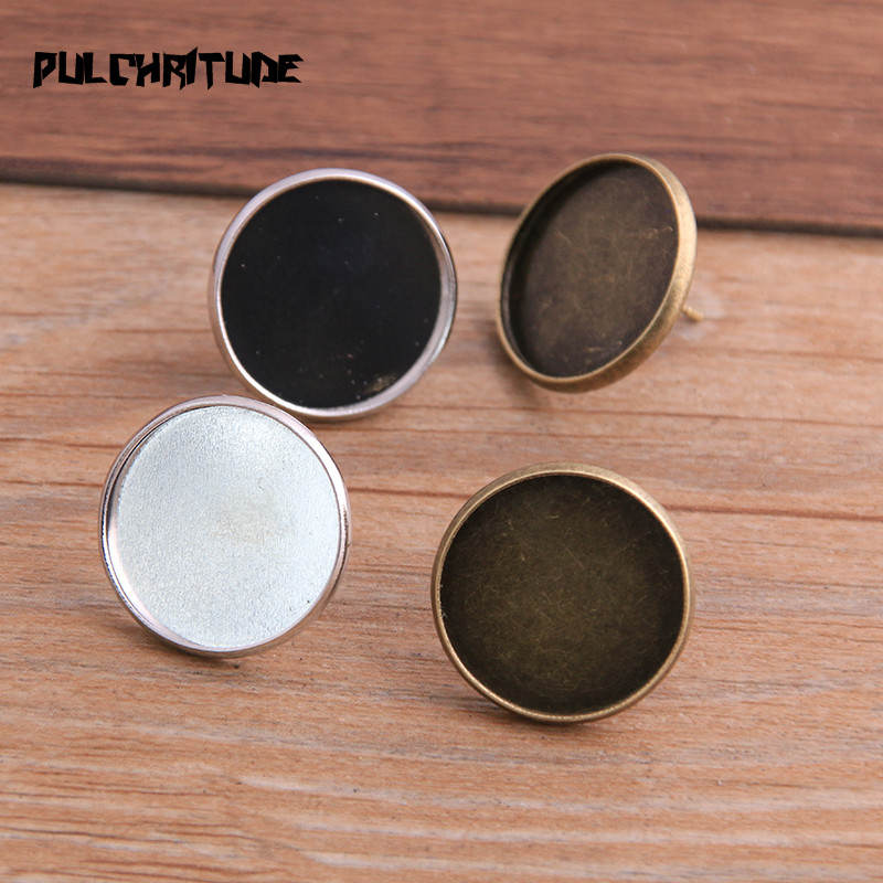 PULCHRITUDE 20pcs 18mm Two Color Vintage Adjustable Stud Earrings Bases Blanks Antique Bronze Cabochon Stud Earrings