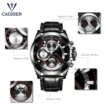CADISEN Men's Luxury Stainless Steel Waterproof Quartz Watches 3