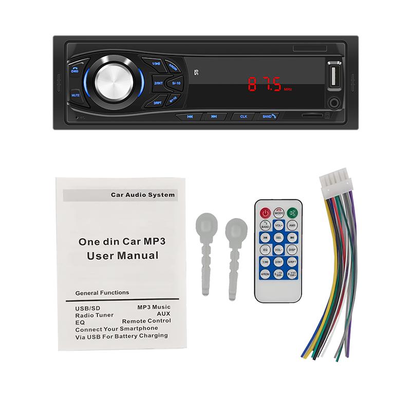 1din Car Radio Bluetooth MP3 Player AUX SD USB FM RCA Car Audio Stereo 1 Din Radios Para Auto 12v Receiver Remote Control
