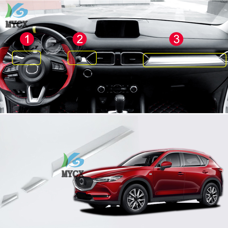 <font><b>For</b></font> <font><b>Mazda</b></font> CX5 <font><b>CX</b></font>-<font><b>5</b></font> <font><b>CX</b></font> <font><b>5</b></font> 2017 <font><b>2018</b></font> 2019 <font><b>accessories</b></font> car dashboard Central control trim cover ABS chrome Interior Mouldings image