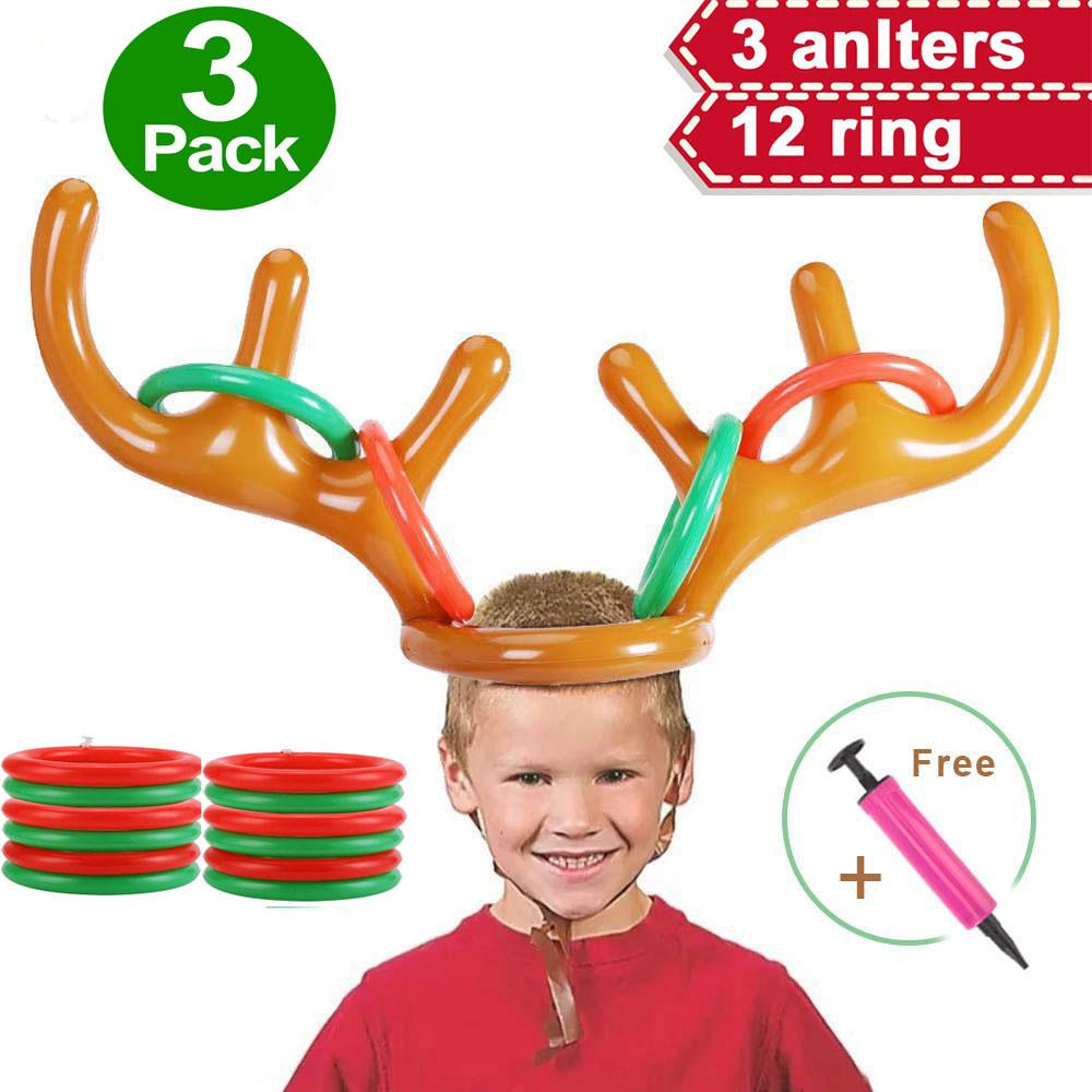 2/3 Pack Ring Toss Inflatable Santa Reindeer Antler Hat Christmas Holiday Party Game Supplies Toys 2 Or More Players Interaction