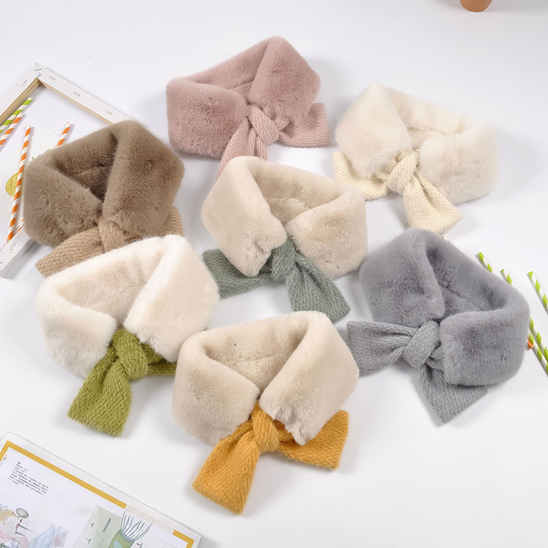 New Autumn And Winter Children's Scarf Mink Hair Interspersed Scarf Boys And Girls Triangle Scarf Baby Warm