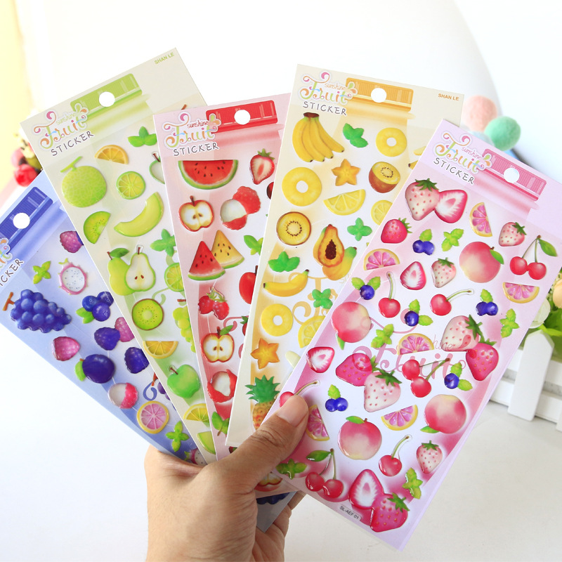 Sweet Fruit Cherry Bananas Bullet Journal 3D Decorative Stickers Adhesive Stickers DIY Decoration Craft Scrapbooking Stickers