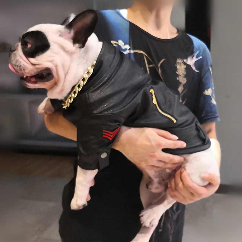 Winter Winddicht Hond Jas Jas Franse Bulldog Pet Kleding Warm Pu Leer Hond Kleding voor Kleine Grote Honden Puppy Pet kleding