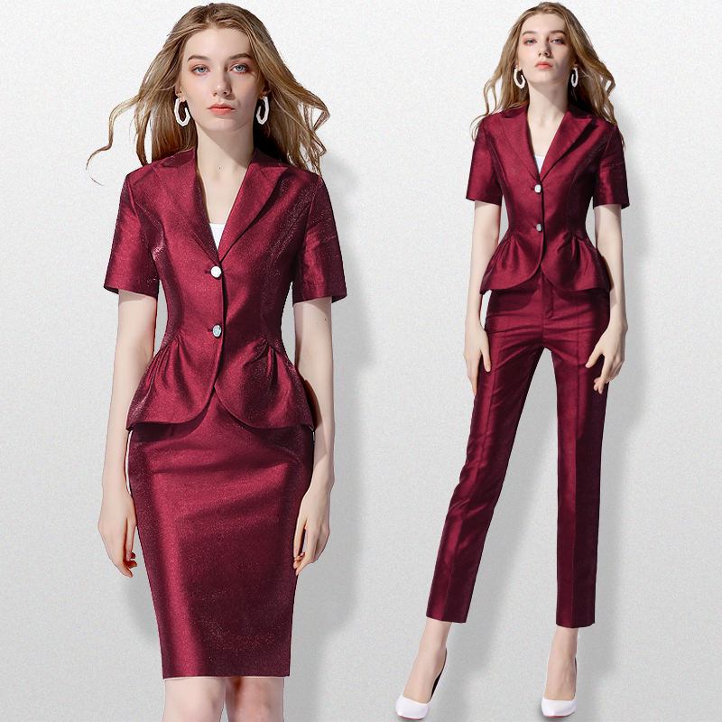 USPECIAL European And American Professional Women's Skirt  Jacket Female Red Fashion Suit Temperament Thin Skirt Hip Commuter OL