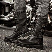 Botas de cuero Martin para hombre, botas altas de invierno para hombre con tacón alto de 37-45 hebillas, zapatos Oxford Unisex Vintage