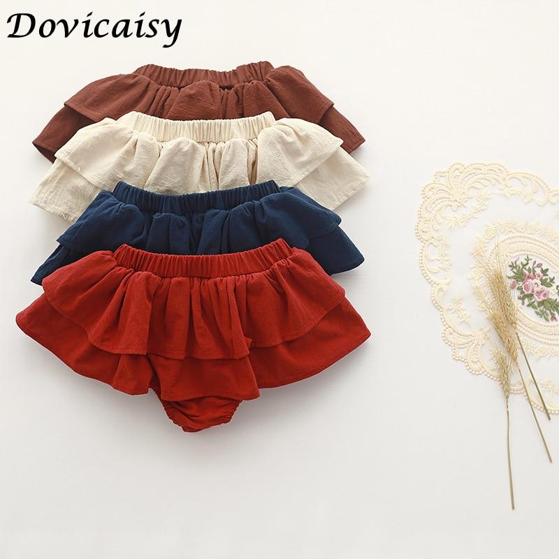 Double layers Ruffles lace baby skirt pants Summer cotton linen kids pettiskirt toddler dancing wedding clothing tutu skirt