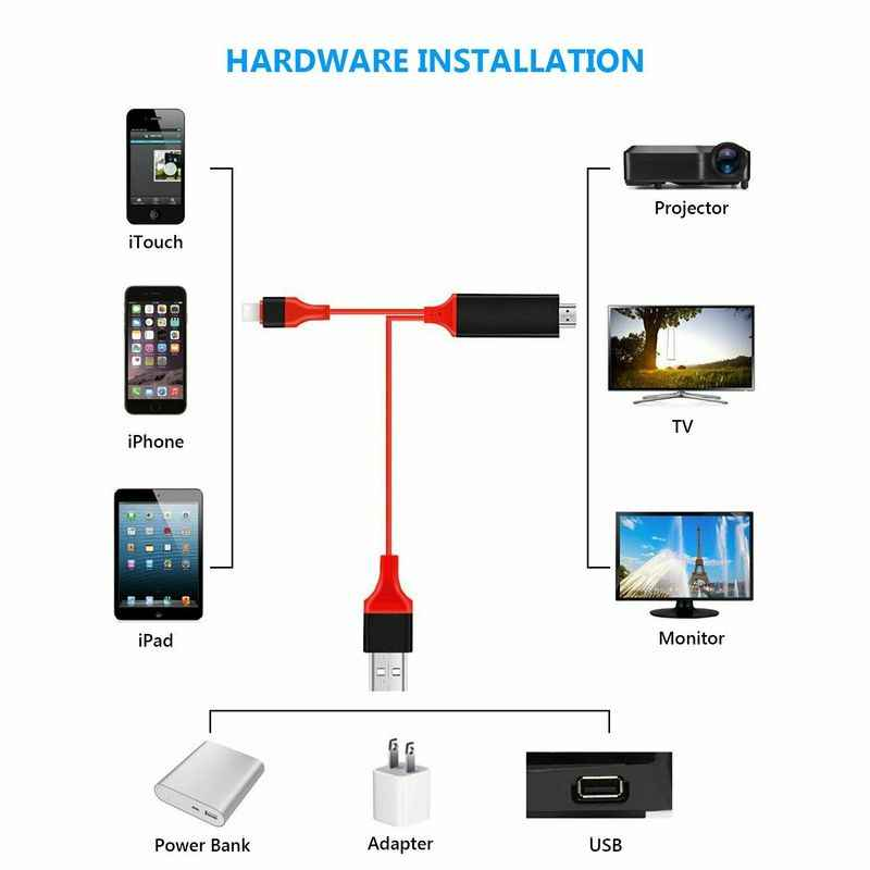 USB 8 Pin untuk HDMI HDTV AV Kabel Adaptor 1080P Pengisian Kabel untuk iPhone X XS MAX 8 7 6 S 5 S 8 Plus 8 Pin USB untuk HDMI Kabel